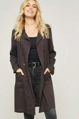 Solid Woven Trench Coat w/ Pockets- Promesa
