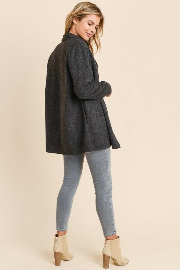 Fuzzy Blazer Coat- Charcoal