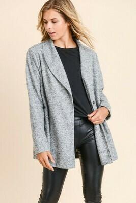 Fuzzy Blazer Coat- Heather Grey