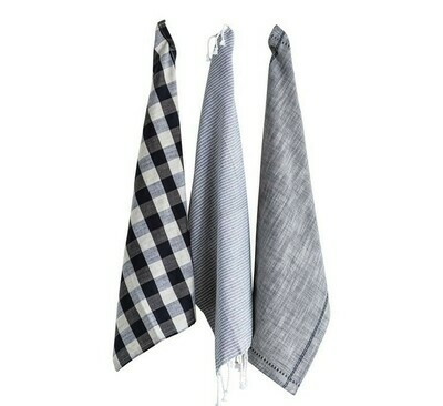 Gingham & Stripe Tea Towels Set Of 3