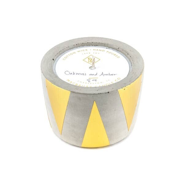 Gold Triangle Concrete Candle- 8oz- Oakmoss & Amber