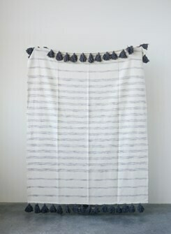 Grey/Cream Stripe Cotton Woven Throw- Creative Co-op