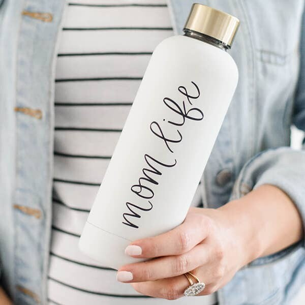 Hand Lettered Water Bottles-Mom Life