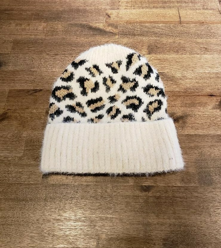 Ivory Leopard Chenille Beanie- Olive Pique