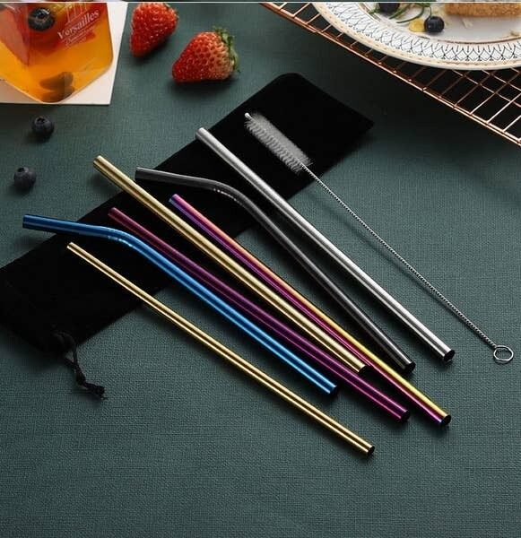 Multi Color Stainless Steel Straw Set- 8pk