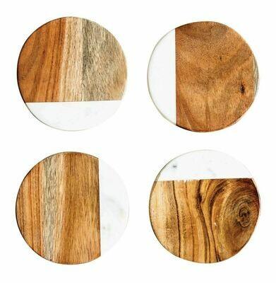 Round Marble & Mango Wood Coasters