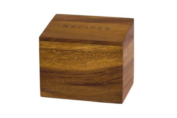 Acacia Wood Recipe Box