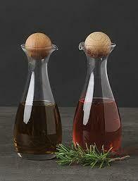 Oil & Vinegar Bottles w/ Oak Stoppers - Set Of 2