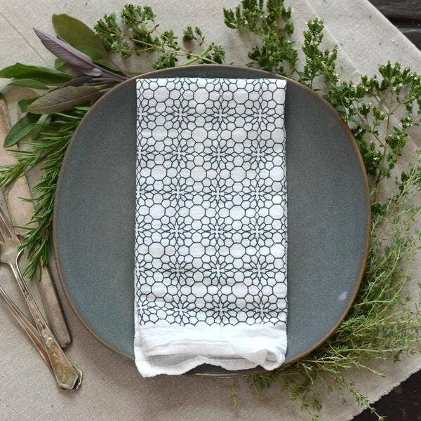 Slate Honeycomb Flower Napkins- Set Of 4