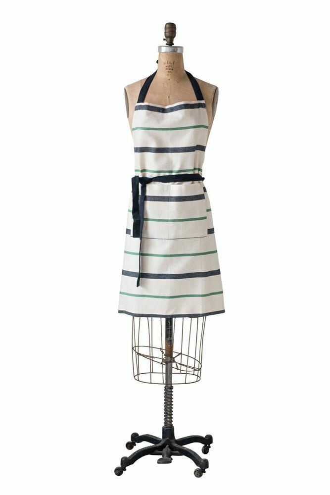 Natural w/ Black/ Green/ Stripe Cotton Apron
