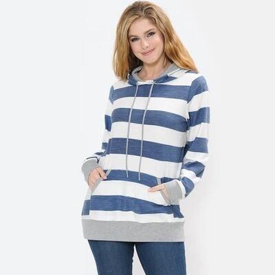 Lightweight Striped Hoodie