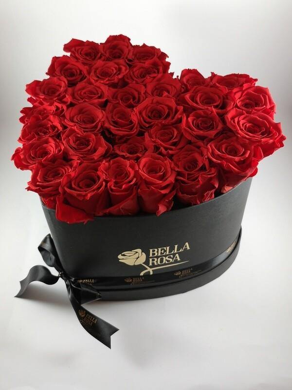 Arreglo de 30 Rosas Preservadas en Forma de Corazón