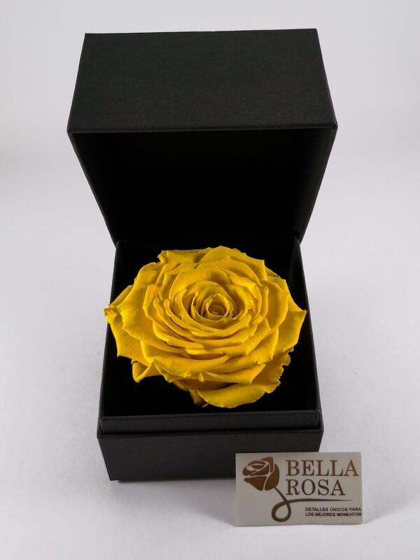 Rosa Preservada Amarilla 9 cm x8 cm, en Caja Negra Elegante 9.5x9.5 cm