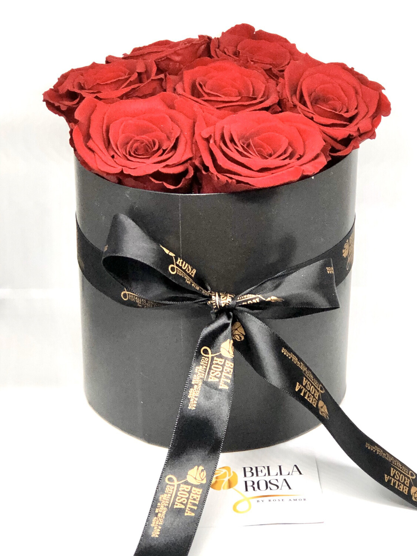 Caja redonda con 7 rosas