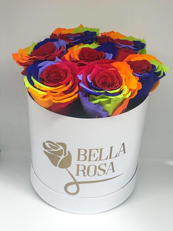 Caja redonda con 7 rosas preservadas multicolor