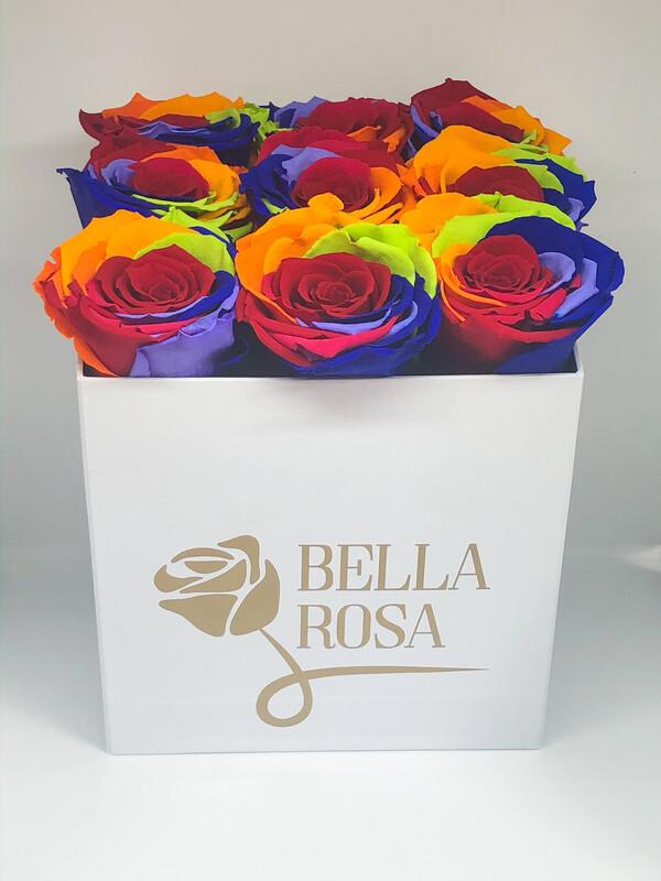 Caja con 9 rosas preservadas multicor