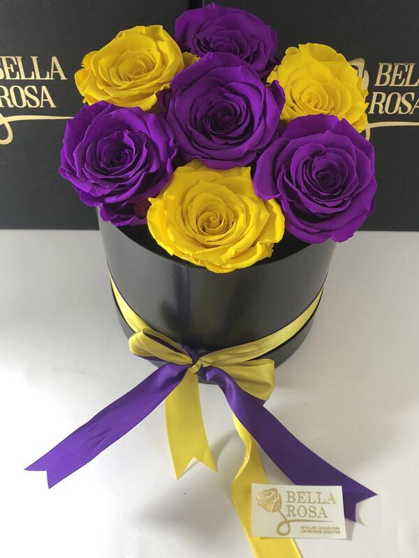 Caja con 7 rosas preservadas