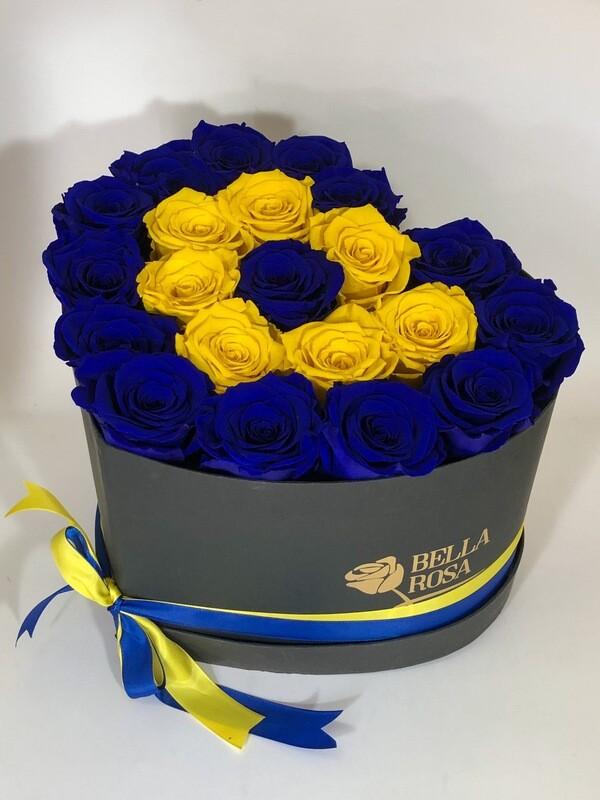Caja en forma de corazón con 21 rosas preservadas tamaño Xl