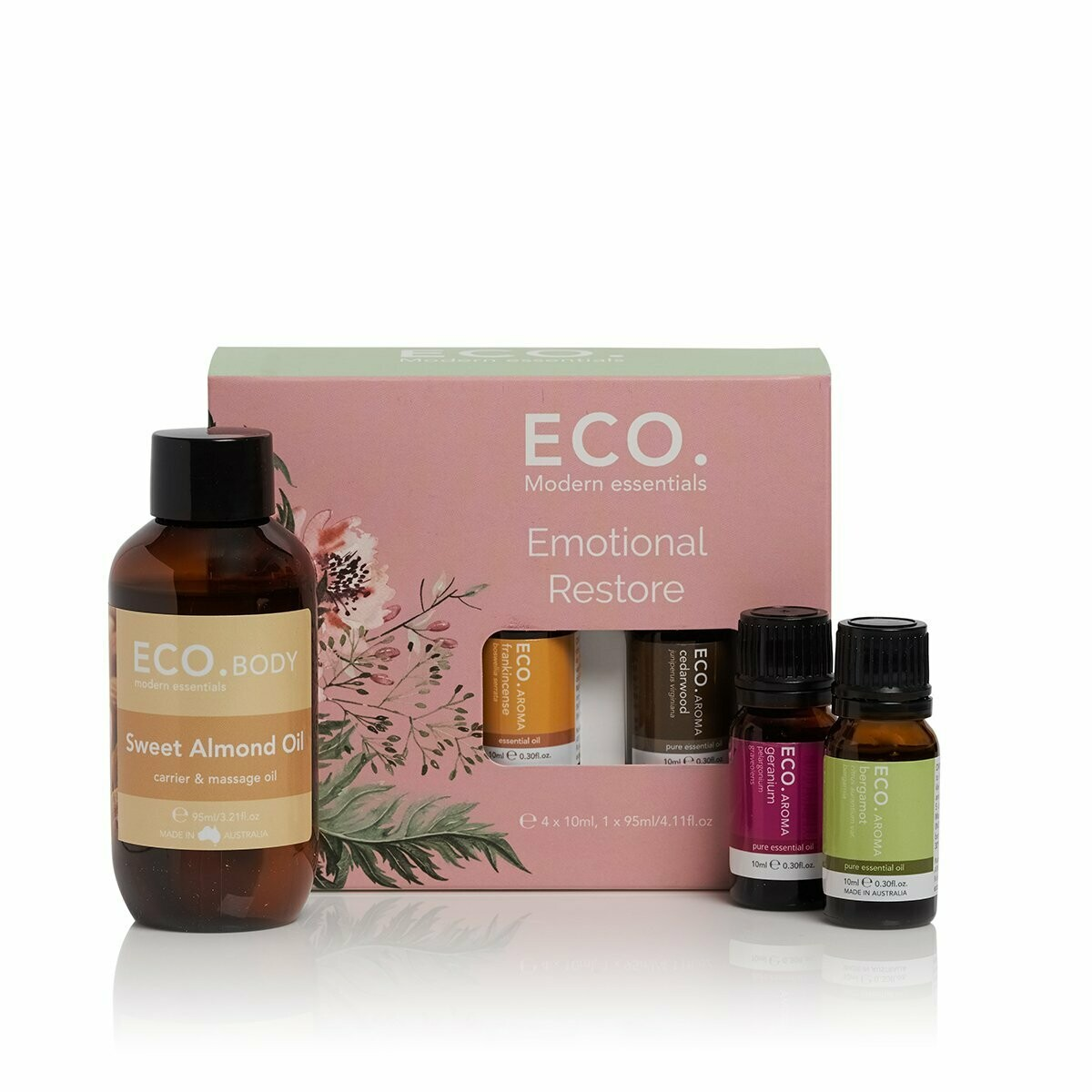 ECO. Emotional Restore Pack (4x 10ml Essential Oils, 1x 95ml Carrier Oil)