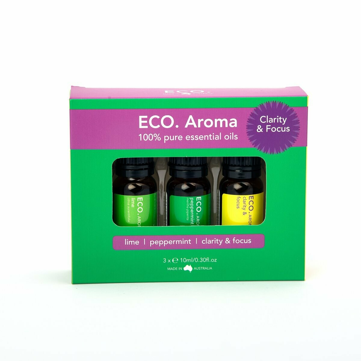 ECO. Clarity & Focus Aroma Trio (Lime, Peppermint, Clarity & Focus Blend)
