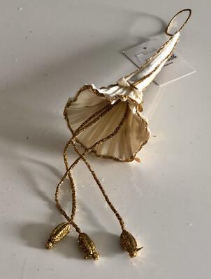 Hanging Bell Flower Decoration - Ivory & Gold