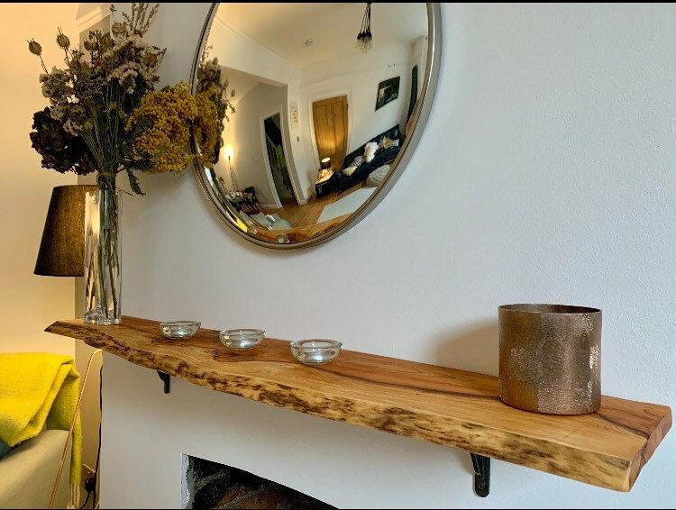 Live Edge Yew rustic solid wood 4ft Shelf floating shelf