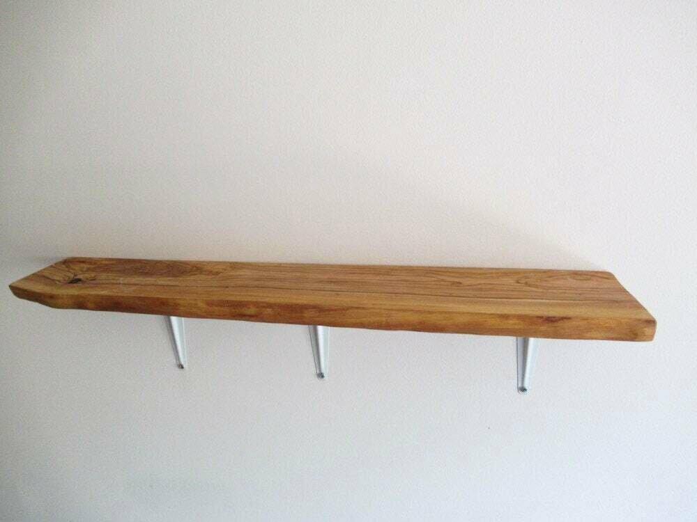 Live Edge Italian Olive rustic solid wood Shelf floating shelf