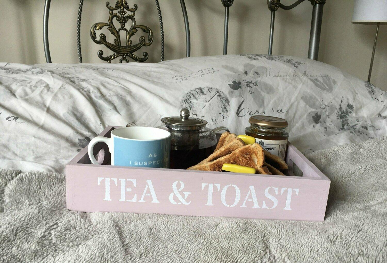 Tea and Toast decorative  shabby chic wooden tray  Free UK P&P