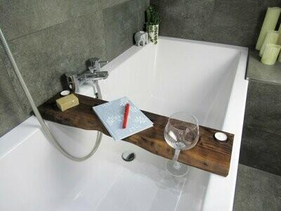 Live Edge Solid French Walnut Wood Bespoke Rustic Bath Caddy Tray Tablet Holder