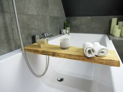 Double Live Edge Solid White Yew wood Bespoke Rustic Bath Caddy Tray Tablet Holder