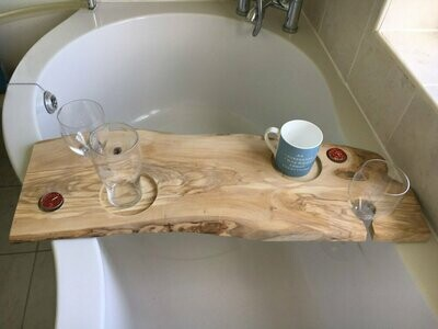 Double Live Edge Solid Olive wood Bespoke Rustic Bath Caddy Tray Tablet Holder