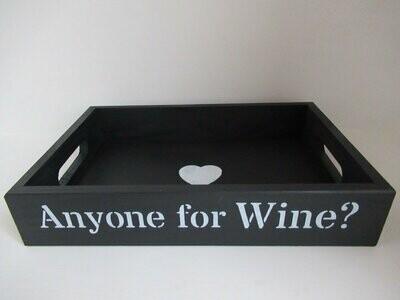 Anyone for Wine? decorative shabby chic wooden tray  Free UK P&P