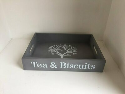 Tea and Biscuits decorative shabby chic wooden drinks tea tray  Free UK P&P