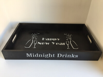 Midnight Drinks New Year Christmas decorative shabby chic wooden drinks tray