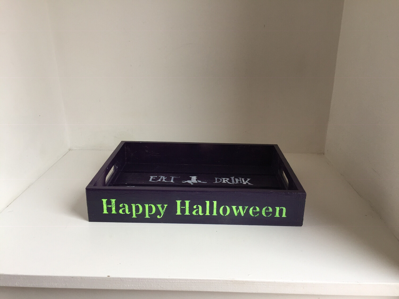Halloween Happy Halloween bespoke personalised wooden drinks tray
