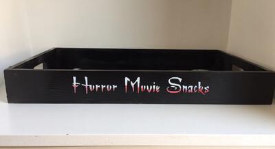 Happy Halloween Horror Movie Snacks decorative shabby chic wooden tray