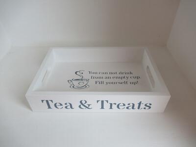 Tea and Treats decorative shabby chic wooden drinks tea tray  Free UK P&P