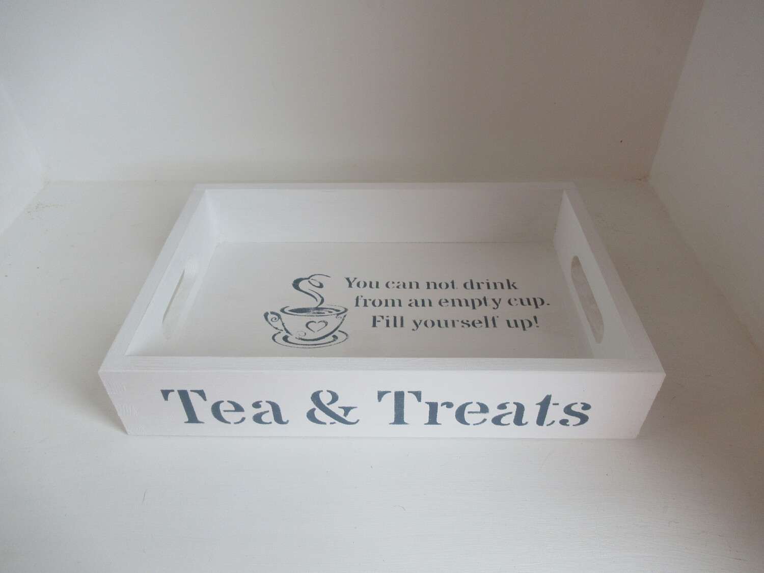 Tea and Treats decorative shabby chic wooden drinks tea tray  Free UK P&P