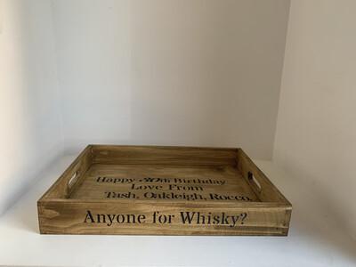 Anyone for Whisky? decorative shabby chic wooden tray  Free UK P&P