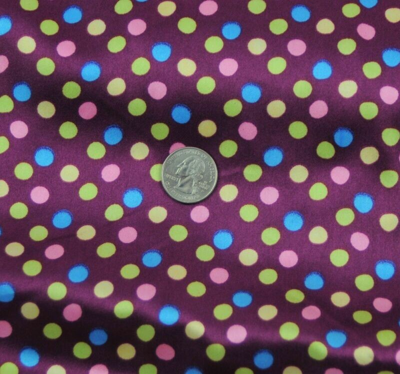 Polka Dot purple SHINY SATIN 100% Polyester Pantie Lingerie Fabric 60