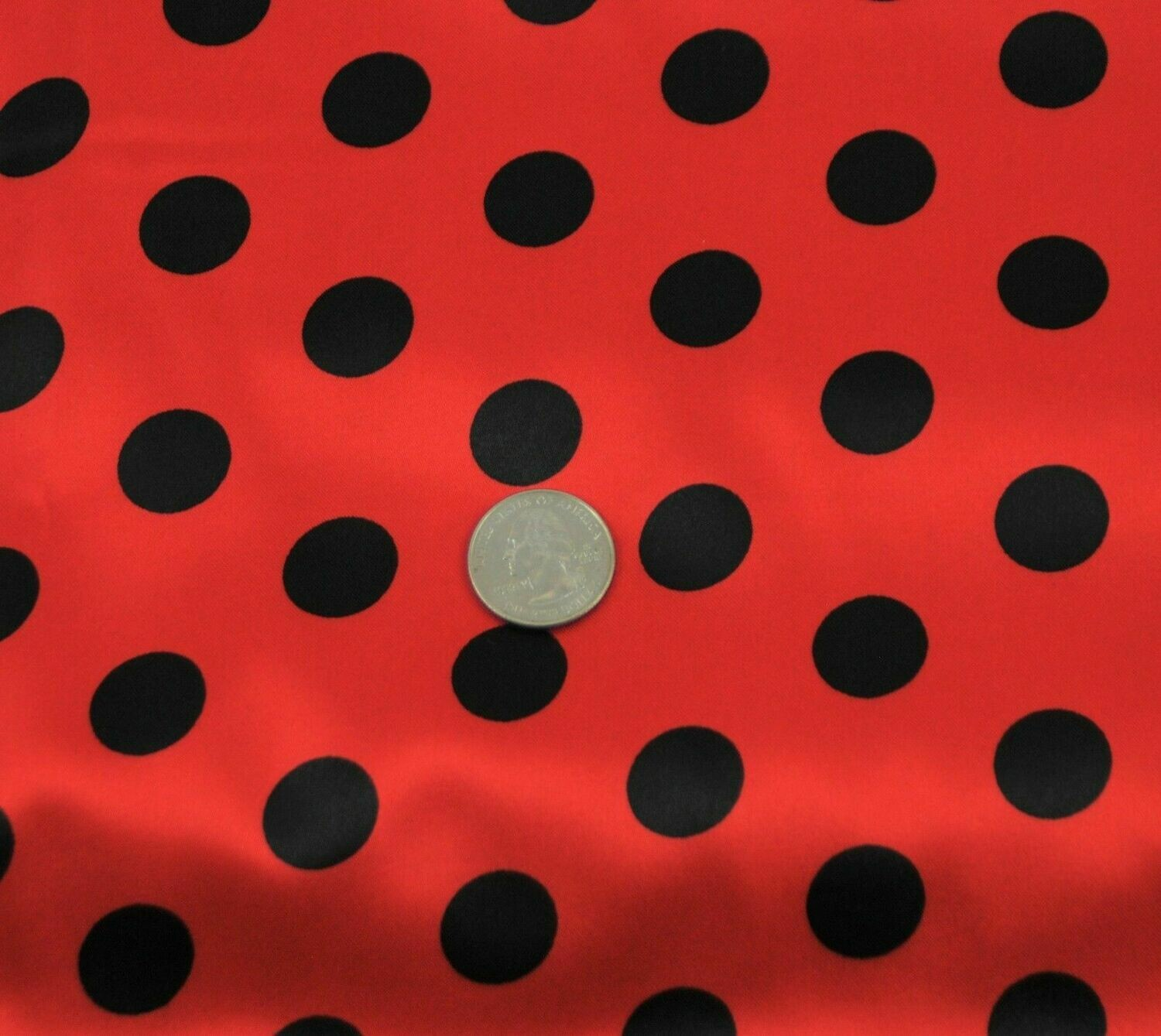 Polka Dot red w black SHINY SATIN 100%Polyester Pantie Lingerie Fabric 60