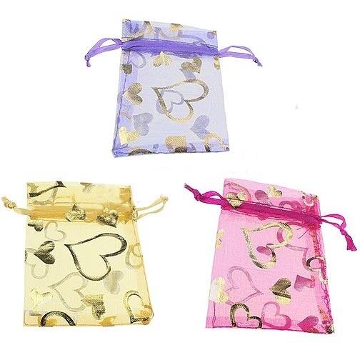 Hearts Organza Drawstring Bags Sets