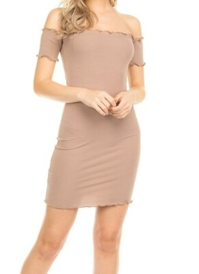 New Taupe Off shoulder dress