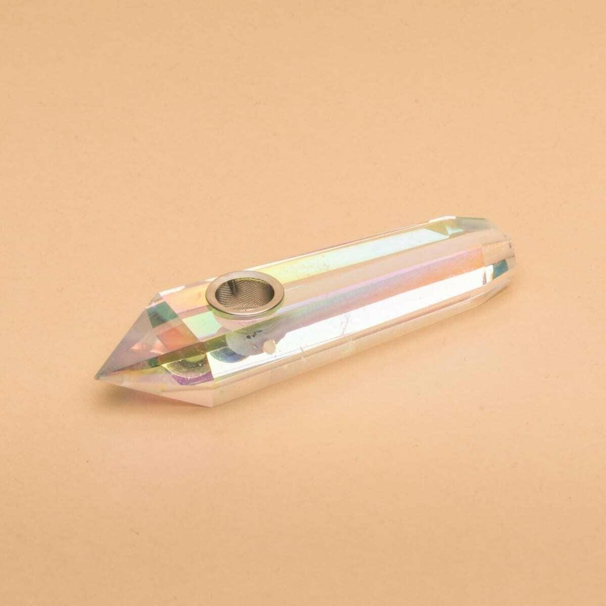 Crystal Charged Pipe- Aura Rainbow Quartz