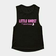 Little Ghost Ultra Soft Premium Tank w/Pink Leaf