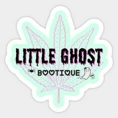 Little Ghost w/Pink Leaf Vinyl Sticker