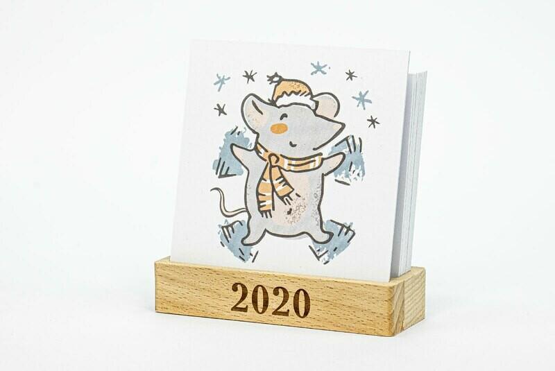Календарь на подставке из дерева 2020 Mouse Mini 2
