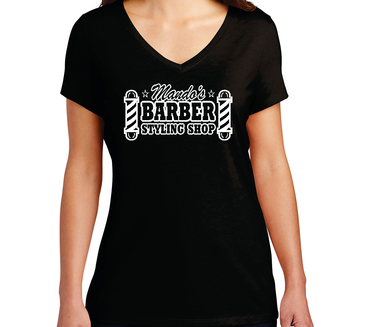Mando's Barber Shop Soft Ladies V-Neck