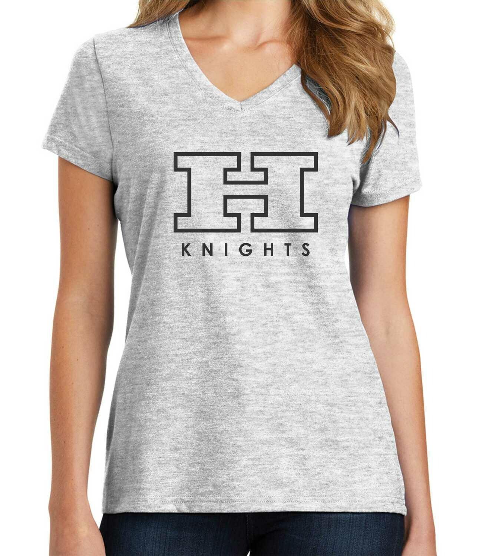Hanks Knights Soft Ladies V-Neck Grey
