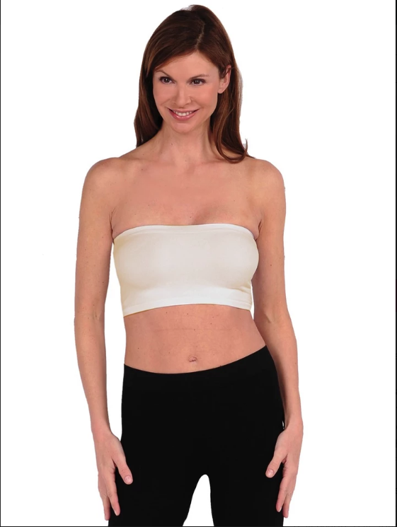 Tees By Tina Bandeau Bra in Cream
